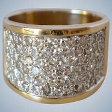 Spectacular Massive 14K Yellow Gold 2.0TCW Diamond Pave Men's Statement Ring/Wedding Band