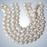 """Fabulous 52"""" Long Single Stand White Cultured Pearl Necklace"""