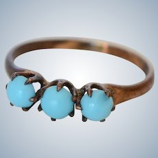 Antique 8K Rose Gold Triple Turquoise Ring