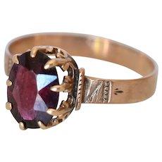 Antique 10K Rose Gold Oval Garnet Engraved Ring