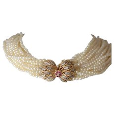 Cultured Pearl Choker Necklace with 14K Yellow Gold Diamond & Ruby Set Clasp