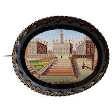 Antique Italian Silver Vermeil Micro Mosaic Large Brooch