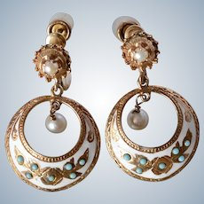Charming Antique 14K Yellow Gold Turquoise, Pearl and White Enamel Dangle Screw-back Earrings