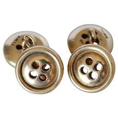 Antique British 9K Yellow Gold Double Buttons Cufflinks