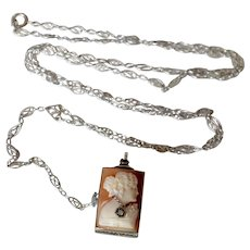 Antique De Frece Lady's 14K White Gold Shell Cameo & Diamond Pendant Watch Y-Necklace