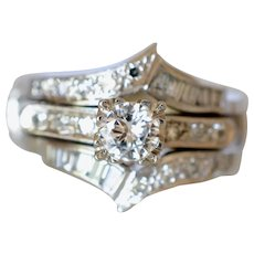 Stunning Vintage 14K White Gold 0.80 Tcw Diamond Wedding Set with Double Banded Ring Guard