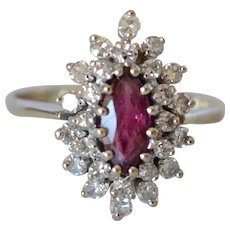 Charming 14K White Gold Ruby & Diamond Cluster Marquise Shape Cocktail Ring