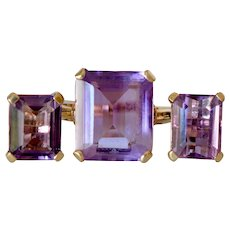14K Yellow Gold Emerald Cut Amethyst Statement Ring and Studs Earring Set