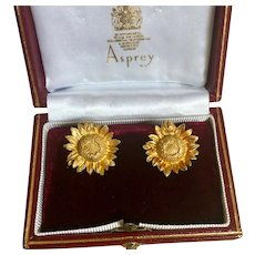 Original 18K Yellow Gold Asprey of London Sunflower Stud Earrings w/Box