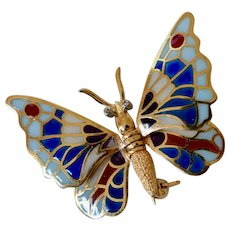 18K Yellow Gold Plique à Jour Enamel and Diamond Butterfly Brooch/Pin