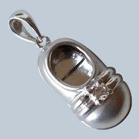 Lovely 14K White Gold Diamond Baby Shoe Charm/Pendant