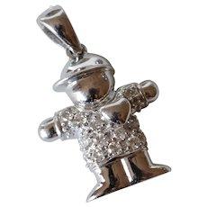 14K White Gold Diamond Boy Charm/Pendant