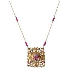 Vintage Filigree 18K Yellow Gold Pink & Blue Sapphires Square Panel Necklace
