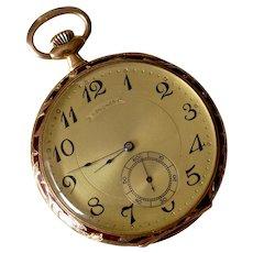 Antique Longines 14K Yellow Gold Red Enamel Pocket Watch
