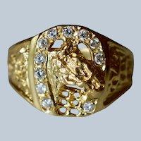 18K Yellow Gold & Diamond Horse in Horseshoe Ring