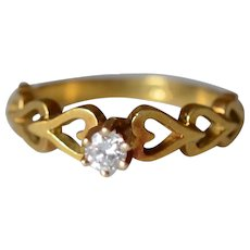 Charming 18K Yellow Gold Open Heart Diamond Engagement Ring