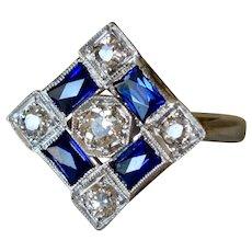 Breathtaking Art Deco 14K White Gold Diamond & Sapphires Cocktail Ring