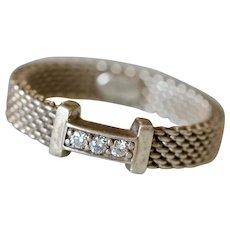Vintage Tiffany & Co. Sterling Silver & Diamond Somerset Narrow Ring Band