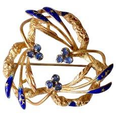 Antique 18K Yellow Gold Blue Enamel Sapphire Wreath Brooch/Pin