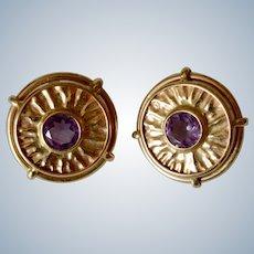 Italian 14K Yellow Gold Round Amethyst Disc Post Earrings