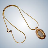 14K Yellow Gold Oval Opal Necklace