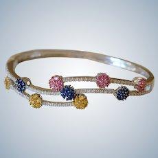 14K White Gold & Rhinestones Flower Cluster Bangle Bracelet