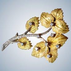 Vintage Russian 14K Yellow & White Gold Diamonds Flower Branch Brooch