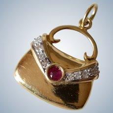 Vintage 14K Yellow Gold Ruby & Diamond Purse Charm/Pendant