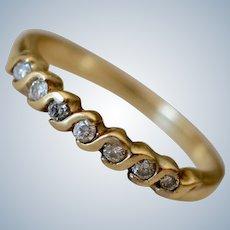 Vintage 14K Yellow Gold & Diamond Half Eternity Wedding Band