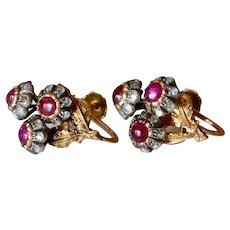 Vintage Buccellati 18K Yellow Gold Ruby & Diamond Flower Screw-Back Earrings