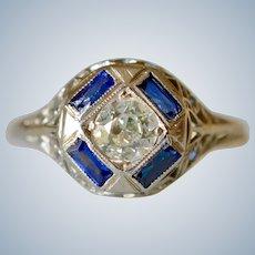 18K White Gold Filigree 0.45Ct Diamond & Sapphire Art Deco Engagement Ring