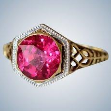 Art Deco 14K Yellow Gold Filigree & Pink Ruby Ring