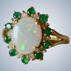 Beautiful 14K Yellow Gold Opal, Diamond and Emerald Halo Ring