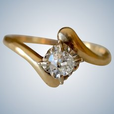 14K Yellow Gold 0.35ct Diamond Solitaire Engagement Ring