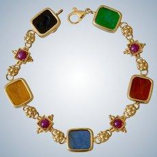 Italian 14K Yellow Gold Intaglio Glass Multicolor Bracelet