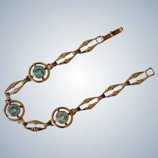 Vintage 10K Yellow Gold Three Topaz Stone Link Bracelet