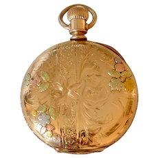 Antique 14K Yellow/Rose/White Gold Hunter Case Elgin Woman's Pocket Watch/Pendant