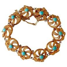 Vintage 14K Yellow Gold Turquoise Filigree Link Bracelet