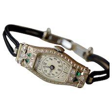 Art Deco 14K White Gold Diamond & Emerald Ladies Wrist Watch
