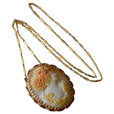 Antique Large 14K Yellow Gold Carved Shell Cameo Woman with Flowers Brooch/Pendant with Chain