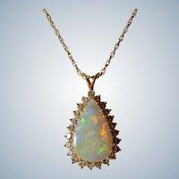 14K Yellow Gold Teardrop Opal Diamond Halo Necklace/Pendant
