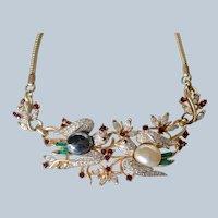 "Vintage Corocraft ""Lovebirds' Gold Vermeil Birds & Bees Rhinestone Choker/Necklace"