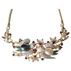 "Vintage Corocraft ""Lovebirds' Gold Vermeil Birds & Bees Rhinestone Choker/Necklace"