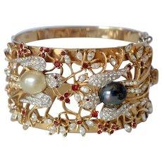 "Vintage Corocraft ""Lovebirds' Gold Vermeil Birds & Bees Rhinestone Bangle Bracelet"