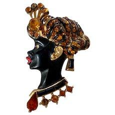 Coro Craft Francois African Woman Blackamoor Enamel & Rhinestone Brooch/Pin