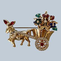 Coro Craft Donkey & Flower Cart Brooch/Pin