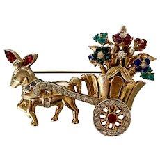Coro Craft Donkey & Flower Cart Brooch/Pin