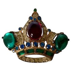 Vintage Coro Craft Sterling Silver Jeweled Crown Brooch/Pin