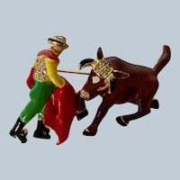 Coro 1946 Rare Matador and Bull Enamel Brooch/Pin