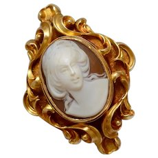 Antique Early Victorian 18K Yellow Gold Carved Shell Cameo Brooch/Pin